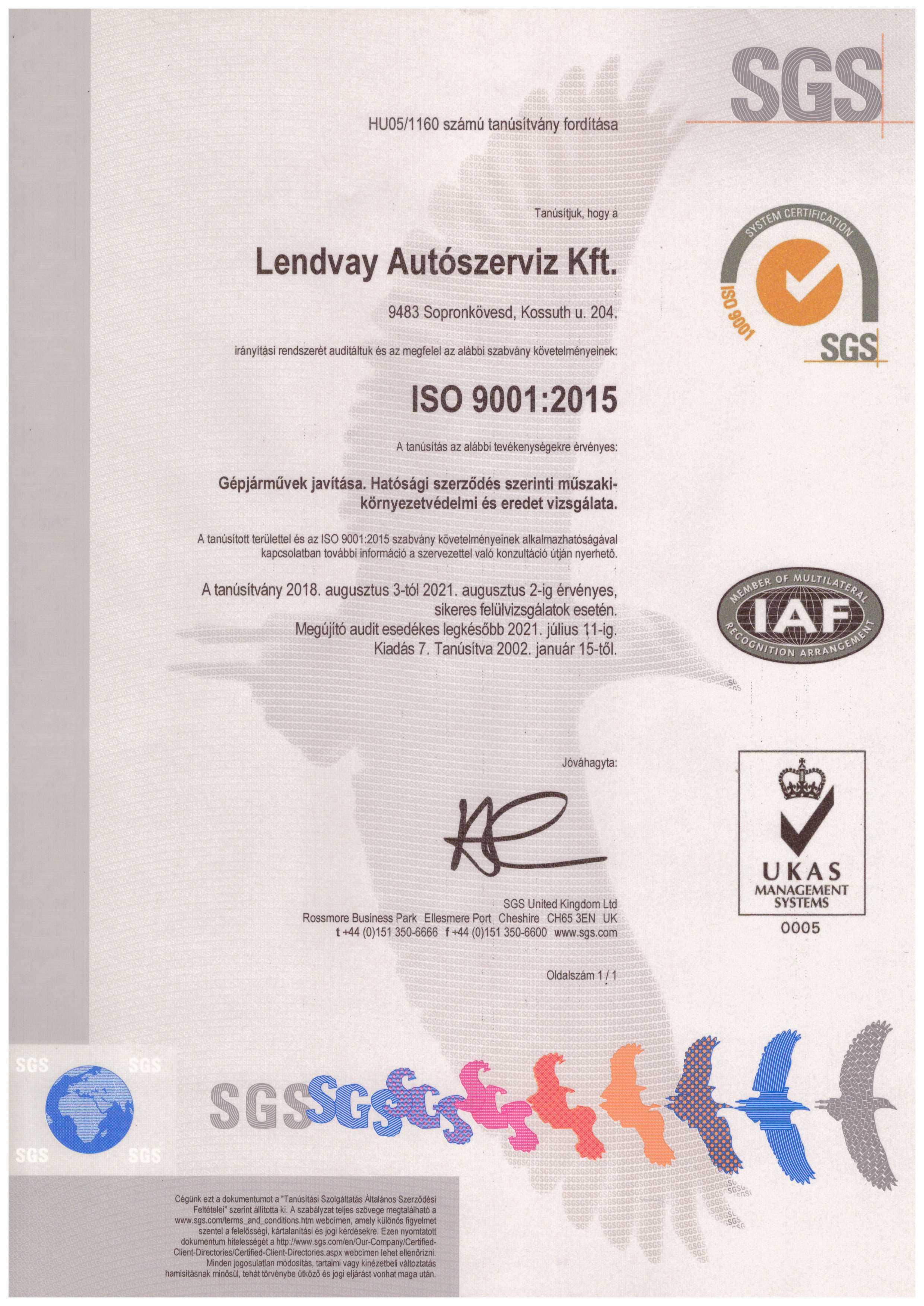 ISO tanusítvány